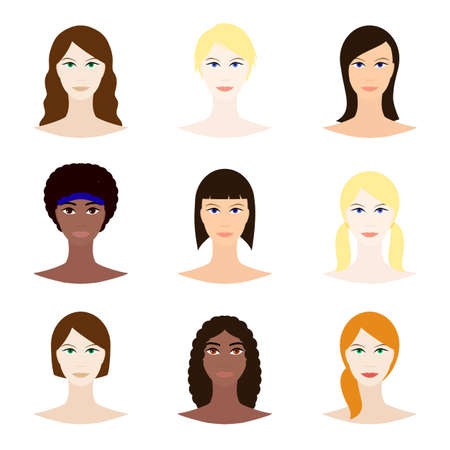 Female avatar set, woman faces icons. White and black young girls with various hair style. Female character design. Vector illustration