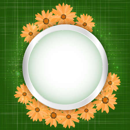 Round floral frame with lights effect on bright orange background. Shining banner with stars and glitter. Vector template.