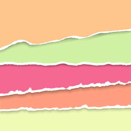 Vector background with collection of pastel colors torn paper. Realistic paper stripes with ripped edges.