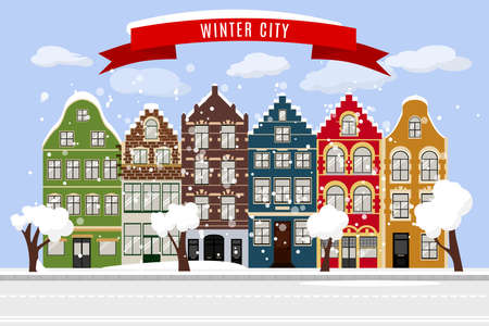Winter Flat city landscape with European building facades. Cute retro houses exterior. Traditional architecture of Belgium and Netherlands Foto de archivo - 111779293
