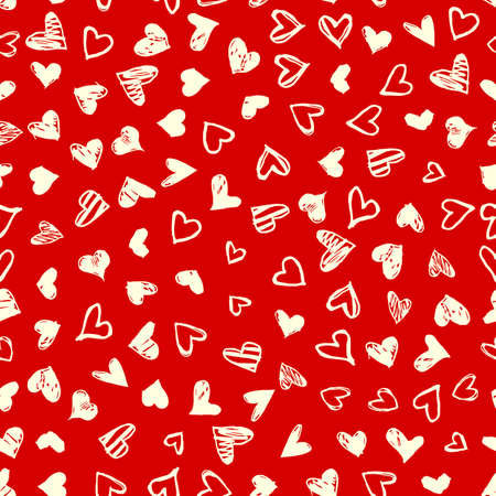 Seamless pattern with hand drawn doodle hearts. Valentines day vector background, design template for wedding card, invitations, textile, banner, greeting, wrapping Foto de archivo - 125465046