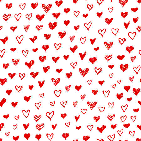 Seamless pattern with hand drawn doodle hearts. Valentines day vector background, design template for wedding card, invitations, textile, banner, greeting, wrapping Foto de archivo - 125465047