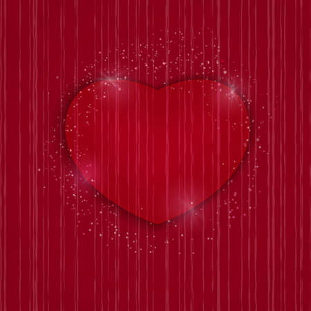 Heart Valentines day card on red background. Wedding invitation card template, Love concept. Festive poster for 14 February. Vector illustration Illustration