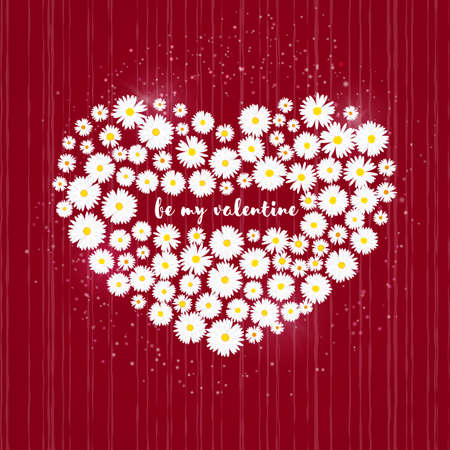 Heart Valentines day card. White daisies on red background. Wedding invitation card template, Love concept. Festive poster for 14 February. Vector illustration.