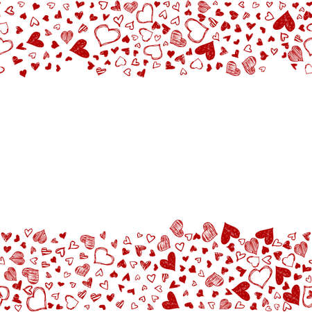Romantic background with hand drawn doodle hearts. Valentines day vector backdrop, design template for wedding card, invitations, textile, banner, greeting, wrapping. Foto de archivo - 124504023