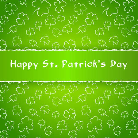 Saint Patrick Day poster. Greetings card with clover shapes and lettering. Vector illustration forweb site, shop, magazine promotion, advertising Foto de archivo - 133876447