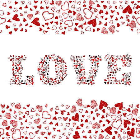 Romantic background with hand drawn doodle hearts. Valentines day vector backdrop, design template for wedding card, invitations, textile, banner, greeting, wrapping. Foto de archivo - 124504028