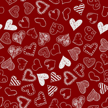 Romantic background with hand drawn doodle hearts. Valentines day vector backdrop, design template for wedding card, invitations, textile, banner, greeting, wrapping. Foto de archivo - 124504030