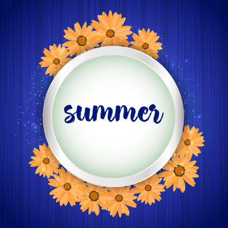 Summer time banner with floral frame on canvas background. Card for Holidays Decoration, Greeting template, Wedding Invitation. Vector illustration Foto de archivo - 134408748