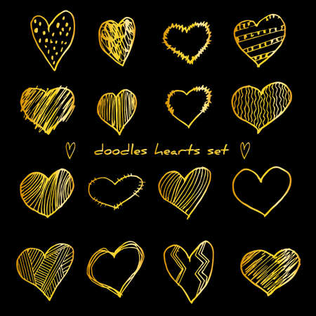 Hand-drawn golden doodle hearts vector illustration set isolated on black. Design elements for Valentines day, wedding template. Foto de archivo - 134408937