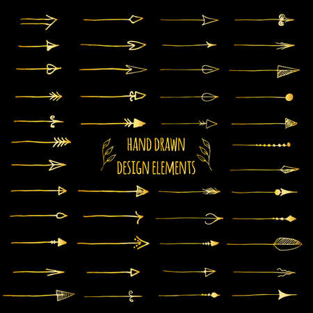 Hand-drawn gold doodle arrows set isolated on black. Vintage design elements for web site, poster, placard, wallpaper - Vector illustration Foto de archivo - 122512698
