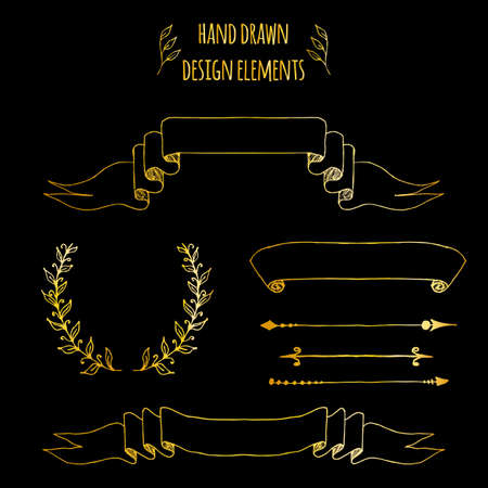 Set of gold handdrawn vintage elements. Ribbons, arrows, laurel wreath, page deviders. Hand drawn sketched, vector illustration for bullet journal, scrapbooking, invitations, weddings