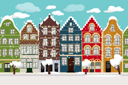 Seamless Border of Cute winter retro houses exterior. Collection of European building facades. Traditional architecture of Belgium and Netherlands. - Vector
