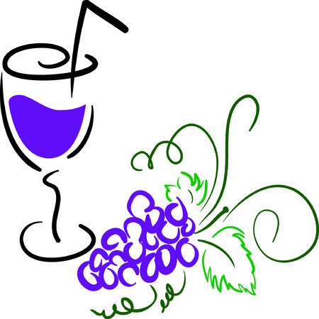 purple grapes: A bunch of grapes with a glass of grapes juice