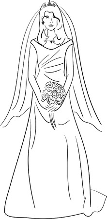 simple drawing of a happy beautiful bride holding a bouquet