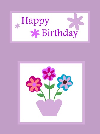 purple birthday card Illustration