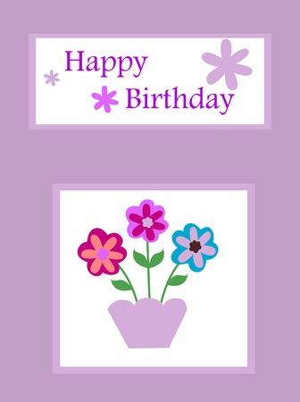 purple birthday card Illustration