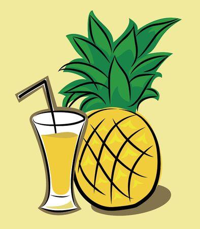 pineapple  glass: Pineapple Juice Illustration