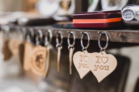 keychains: Keychains with a sign I love you hanging on the board