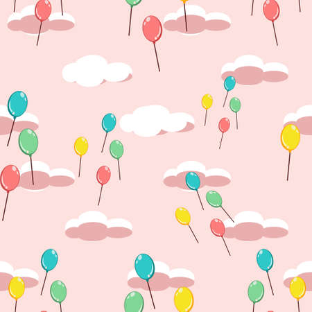 Party balloons flying up the sunset sky. Seamless pattern on pastel pink background Stock Photo