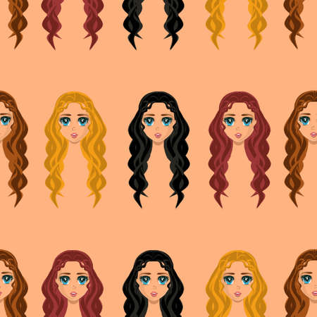Anime style seamless pattern girls with different hair and color wavy loose long hair in beige nude skin color background