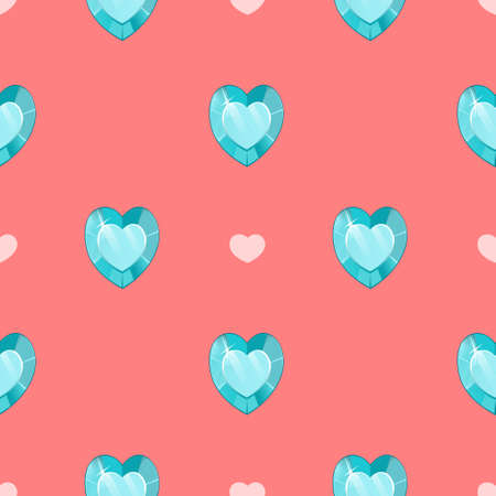 Seamless pattern with blue gemstones in heart shape on pink background. Design for textile print, wrapping paper, web background.