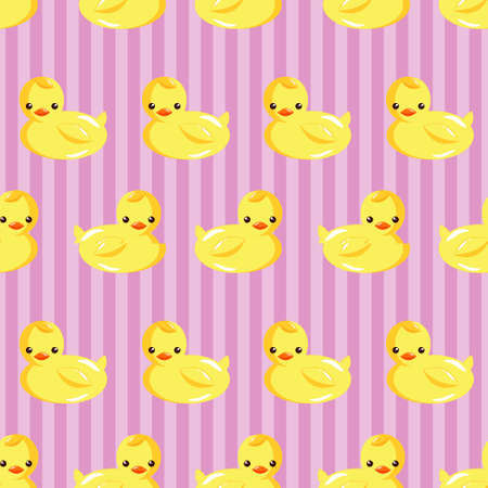 Rubber Duck in vertical Striped Background Seamless Pattern.