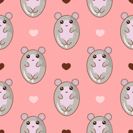 Cute cartoon mouse seamless pattern in pink background. Kawaii style.