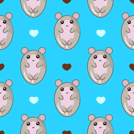 Cute cartoon mouse seamless pattern in mint light blue pastel background. kawaii style. Banco de Imagens