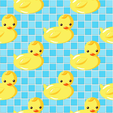 Cute Rubber Ducks swimming in Vintage Aqua Blue Tiled Mosaic Seamless Background.