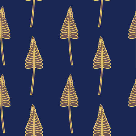 Seamless Pattern Of Golden Stylized Leaves on Navy Blue Background. Modern Textile, Fabric.