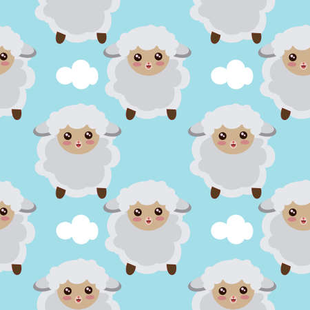 Seamless Pattern Of Sheep Flying In The Sky With Clouds Reklamní fotografie