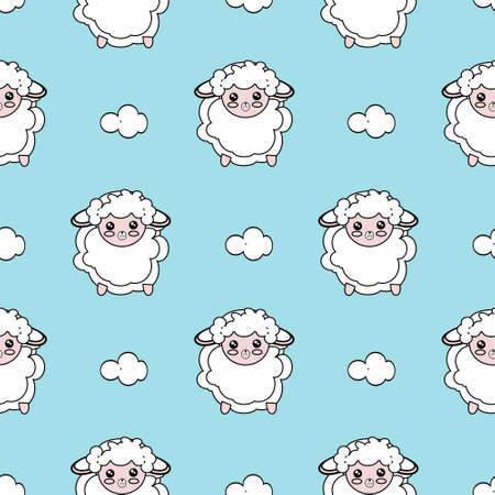 Seamless Pattern of Simple Line Drawing Sheep on neutral blue Background