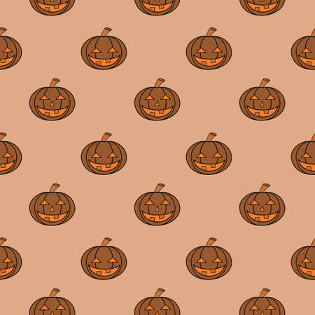 Halloween Carved Pumpkin Seamless Pattern