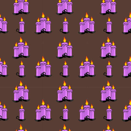 Seamless Pattern Of Groups Of Lit Candles On Dark Neutral Background. Halloween Illustration