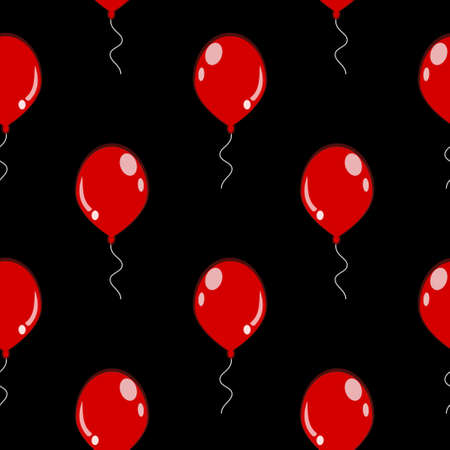 Seamless Pattern of Balloons on Black Dark Background. Symmetric Repeated Background.