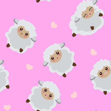 Seamless Pattern of Cute Sheep with Different Expressions on Pastel Pink Background. Stockfoto
