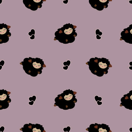 Seamless Pattern Of Cute Cartoon Black Sheep Jumping and Smiling with Black Hearts On Purple Lilac Background. Stockfoto
