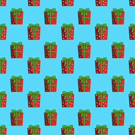 Seamless Pattern of Repeated Colorful Christmas Wrapped Gift Boxes in Green Background.