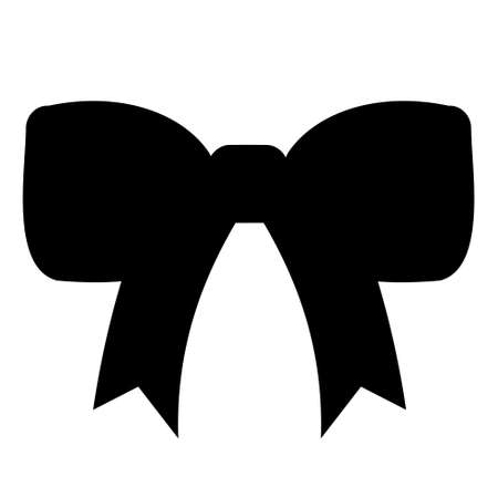 Decorative Bow Black Silhouette on White Background.Christmas, Birthday, Icon