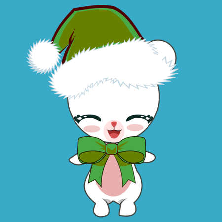 Cartoon Cute Polar Bear Wearing a Christmas Green Hat and Bow, smiling with closed eyes. Adorable Christmas Baby Animal