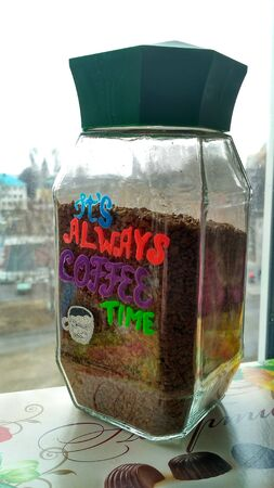 Instant coffee in a hand-painted glass jar, hand made