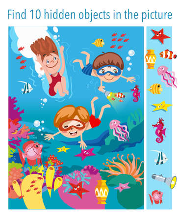 Game for children. Find 10 objects in the picture. Children swim underwater with fishes, seahorses, stars, jellyfish, vector illustration, full color. Vector illustration Ilustración de vector