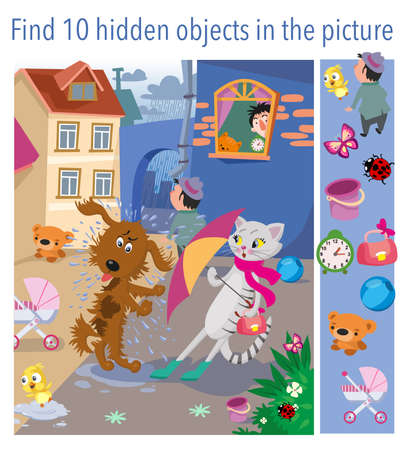 Find 10 hidden objects in picture. The cat and the dog met after the rain, bad manners. Vector illustration, full color. Vector illustration Vecteurs