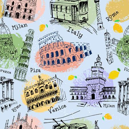 Seamless pattern of buildings, antique columns, landmarks of Italy. Vector illustration, full color. Vector illustration