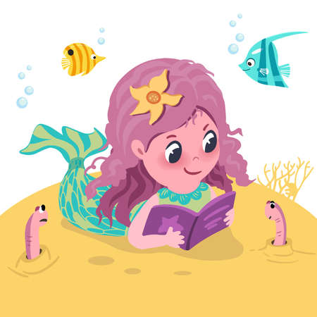 Little cute mermaid is reading book among her sea creatures. Vector hand drawn cartoon style illustration. Vector illustration