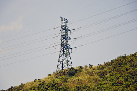 electrical tower: Electrical tower in the mountains Stock Photo