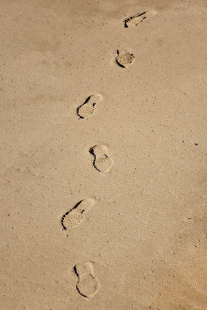 shoeprint: Shoe prints on the beach Stock Photo