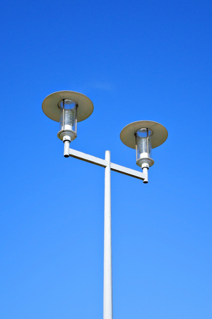 Street lamp isolated on blue sky