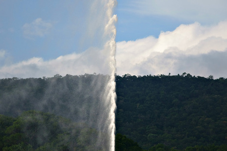 conformation: Background of mountain sky and fountain Stock Photo